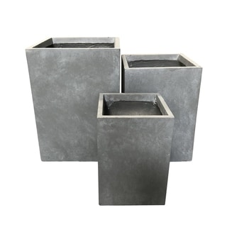 Durx-litecrete Lightweight Concrete Rectangle Planter-Set of 3 - 13'x13'x18.5'