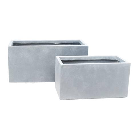 Durx-litecrete Lightweight Concrete Modern Long Cement Color Low Planter-Set of 2 - 31.1'x14.6'x14.8'