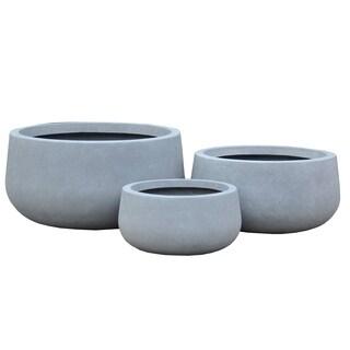 Durx-litecrete Lightweight Concrete Modern Low Bowl Cement Planter-Set of 3 - 19.7'x19.7'x9.8'