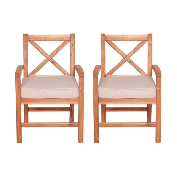 5a59e6f005f1 Shop WE Furniture X Back Acacia Patio Chair with Cushion - Set of 2 - Free  Shipping Today - Overstock - 22818673