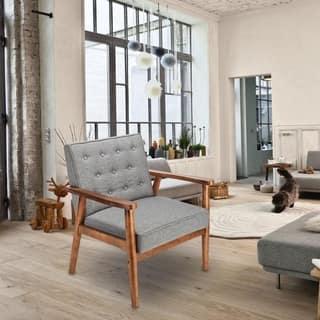 Carson Carrington Kaunas Fabric Upholstered Wooden Lounge Chair