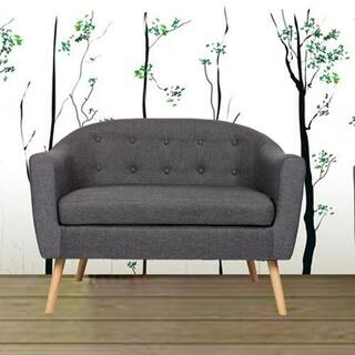 Mid Century Living Room Cushion Linen Tufted Fabric Loveseat Sofa