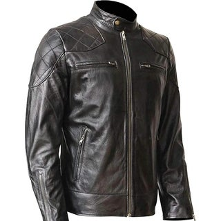 WONDERPIEL Men's Genuine Lambskin Leather Biker Jacket Inspired by David Beckham - Black