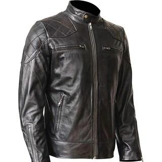 WONDERPIEL Men's Genuine Lambskin Leather Biker Jacket Inspired by David Beckham - Black