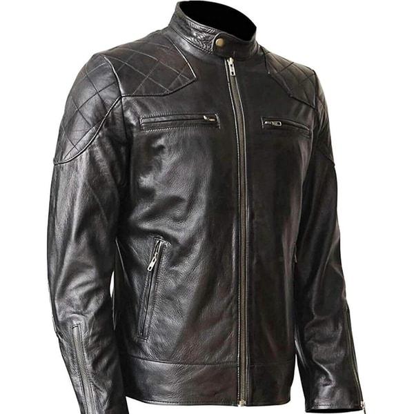 5d86b9329f7 WONDERPIEL Men  x27 s Genuine Lambskin Leather Biker Jacket Inspired by  David Beckham -