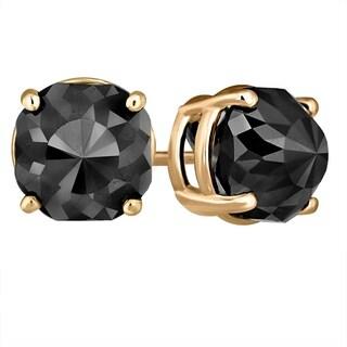 14k Yellow Gold Earrings, Black Diamond Stud Earrings