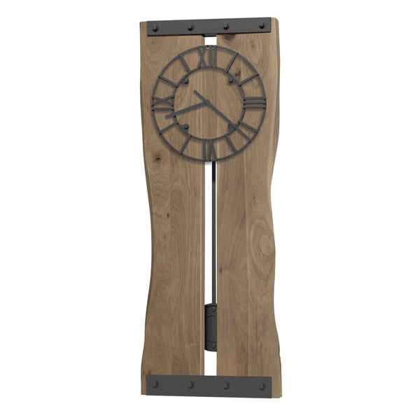 Howard Miller Zeno Live Edge, Rustic, Modern, Contemporary, Transitional Wall Clock with Pendulum, Reloj De Pared