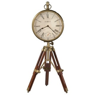 Howard Miller Time Surveyor Cherry Wood/Glass Vintage Transitional Old World Tripod Mantel Clock with Antique Brass Accents