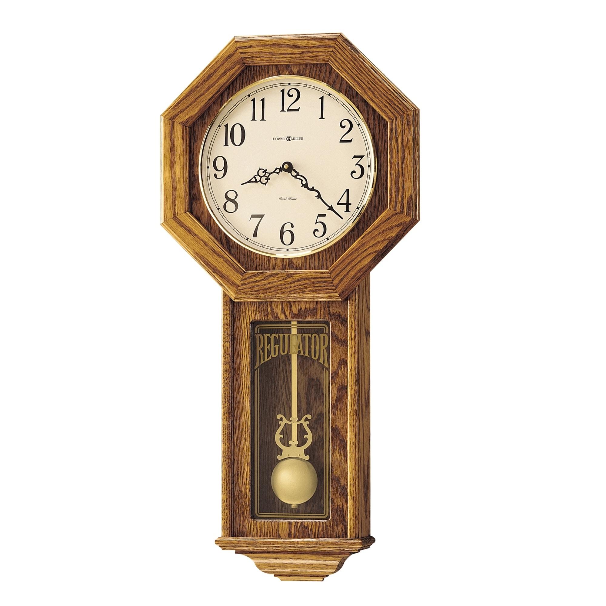 Antique Vintage Pendulum Wall Clock Wood Quartz School House Chime Traditional