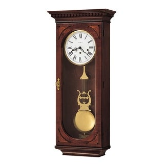 Howard Miller Lewis Grandfather Clock Style Chiming Wall Clock with Pendulum, Vintage, Old World, Classic Design, Reloj De Pared