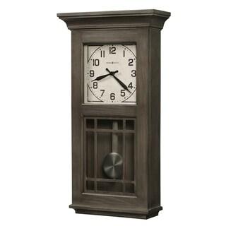 Howard Miller Amos Reloj de Pared Wire-brushed Aged Auburn Wood/Veneer/Steel/Glass Grandfather Wall Clock