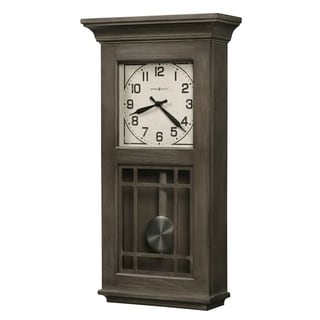 Howard Miller Amos Reloj de Pared Wire-brushed Aged Auburn Wood/Veneer/Steel/Glass Grandfather Wall Clock
