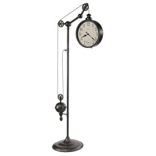 Howard Miller Pulley Time II Industrial Transitional Style Standing Clock with Pendulum and Movements, Reloj de Pendulo de Piso