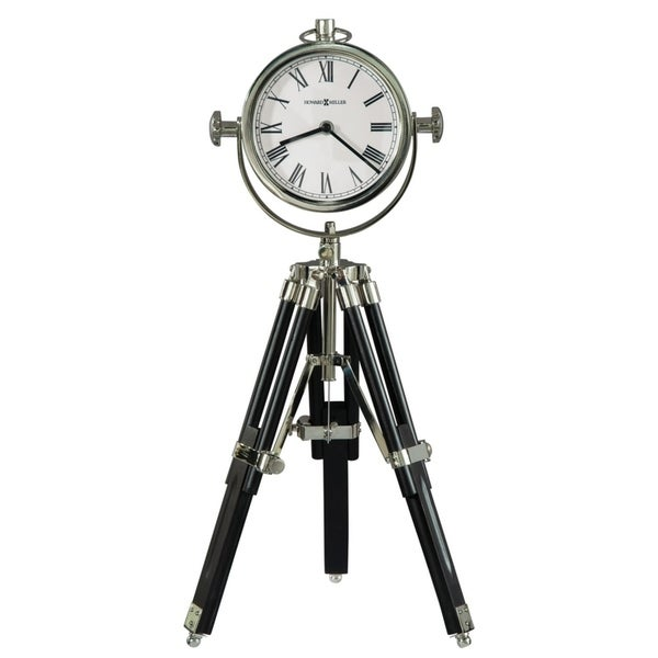 Howard Miller Time Surveyor II Contemporary, Transitional, Sleek and Modern Tripod Mantel Clock, Reloj del Estante. Opens flyout.
