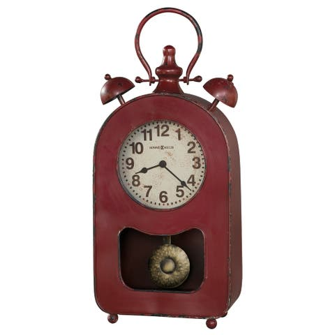 Howard Miller Ruthie Vintage, Industrial, Old World, and Distressed Style Mantel Clock with Pendulum, Reloj del Estante