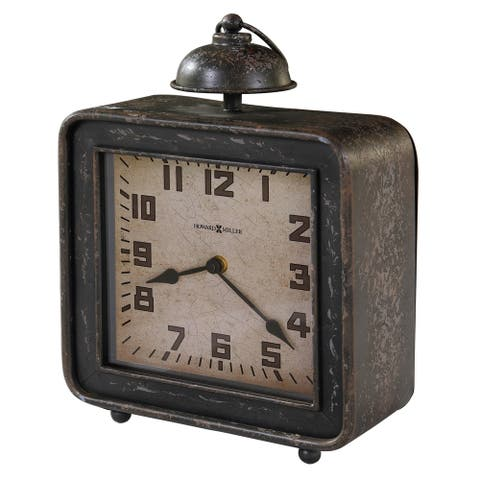 Howard Miller Collins Vintage, Industrial, Old World, and Distressed Style Mantel Clock, Reloj del Estante