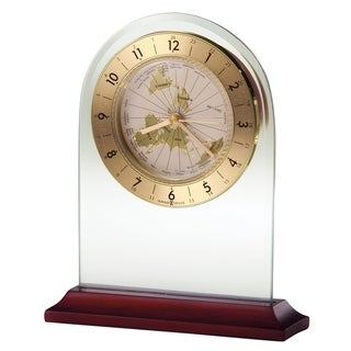 Howard Miller World Time Arch Contemporary, Modern, Sleek, Alarm Clock with Rotating Map, Reloj Despertador