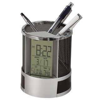 Howard Miller Desk Mate, Contemporary Modern Digital Desk Clock with Pencil Cup Accent & Compartments