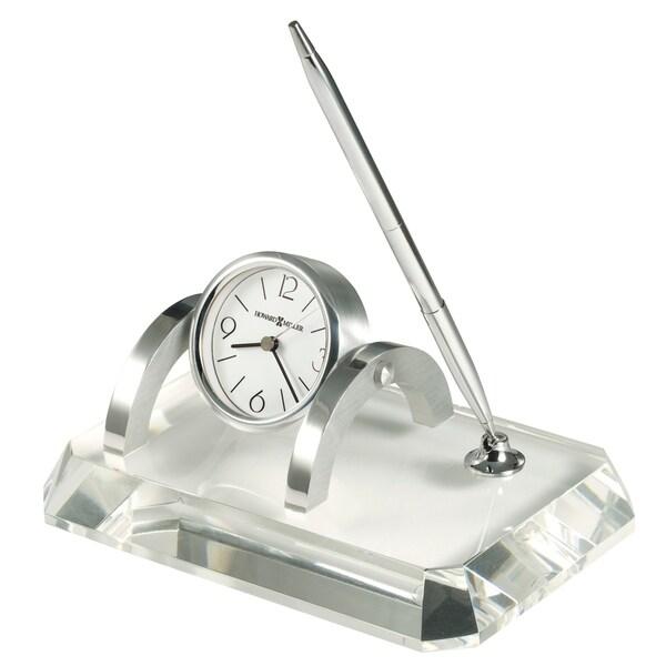 Howard Miller Prominence Contemporary, Modern, Glam Style & Sleek Desk Clock & Pen Set, Reloj del Estante