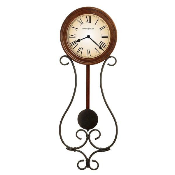 Howard Miller Kersen Rustic, Farmhouse Chic, Industrial, and Transitional Style Wall Clock with Pendulum, Reloj De Pared