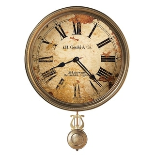 Howard Miller J. H. Gould & Co. III Antique, Vintage, Old World, & Industrial Style Distressed Wall Clock with Pendulum