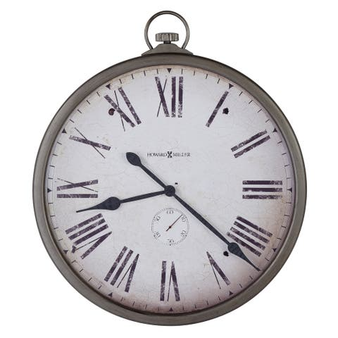 Howard Miller Pocket Watch Transitional, Contemporary, Eclectic, and Charming Pocket Watch Shaped Wall Clock, Reloj De Pared