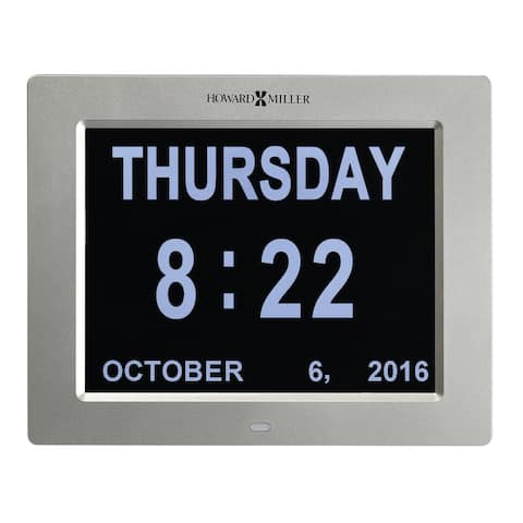 Howard Miller Memory Clock Modern Dimentia Assistance Alarm Clock with Large Numbers, Date and Time