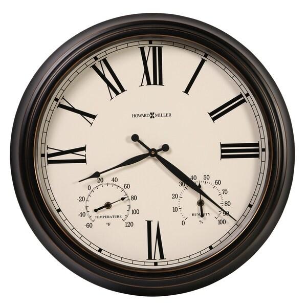 Howard Miller Aspen Indoor Outdoor Nautical Wall Clock With Temperature Gauges