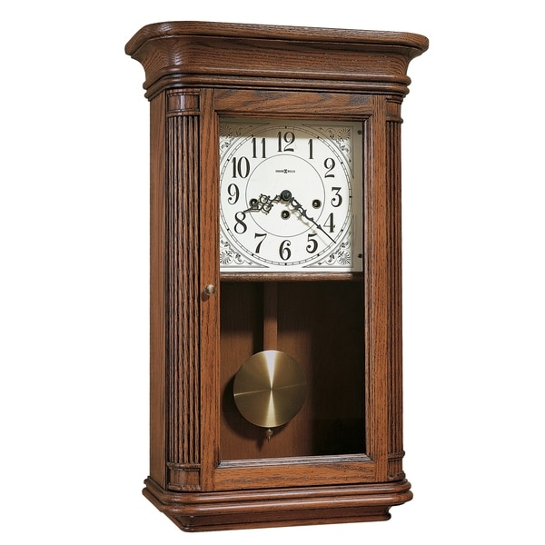 Howard Miller Sandringham Grandfather Clock Style Chiming Wall Clock with Pendulum, Vintage, Old World, Classic Design