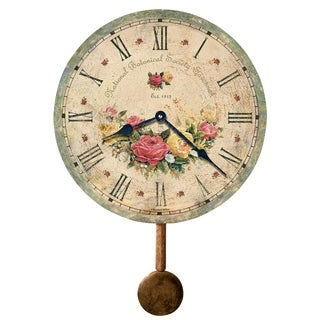 Howard Miller Savannah Botanical VI Rustic, Floral, Farmhouse, Old World Style Distressed, Round Wall Clock with Pendulum