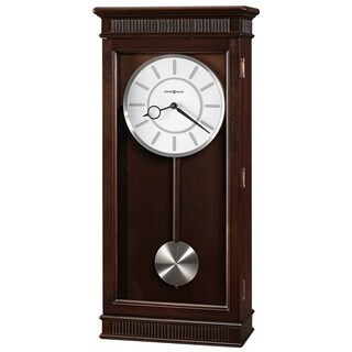 Howard Miller Kristyn Espresso Finish Wood Grandfather Style Contemporary Transitional Chiming Wall Clock with Pendulum