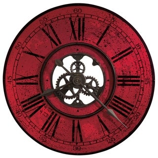 Howard Miller Brassworks II Vibrant, Glam, Bold, Steampunk, Modern and Contemporary, Gallery Wall Clock with Large Numbers