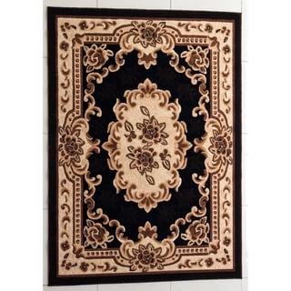 "Rug Tycoon Oriental Traditional Black Rug - 10'0""x13'0""rectangular"