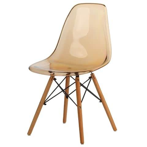 Mid-Century Modern Dowel-Leg Side Chair, Transparent Seat