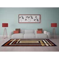"""Rug Tycoon Abstract Modern Contemporary Brown Rug - 7'11""""x9'10""""rectangular"""