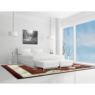 "Rug Tycoon Abstract Modern Contemporary Red Rug - 10'0""x13'0""rectangular"