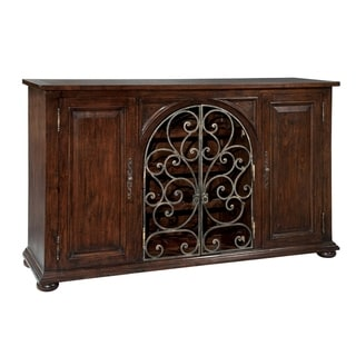 Hekman Furniture Dark Wood Iron Wire Sideboard Buffet - 43 inches high x 70 inches wide x 18 inches deep