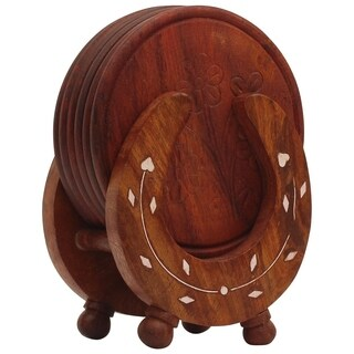 Benzara Retro Wooden Drink Coasters with Horseshoe Shaped Holder, Brown