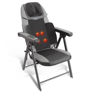 Portable Foldable Massage Chair - Heated Electric Neck and Back Seat Massager - black