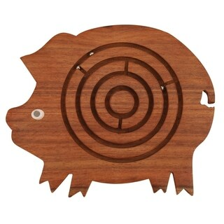 Benzara Pig Shape Labyrinth ball maze puzzle game In Wood, Brown