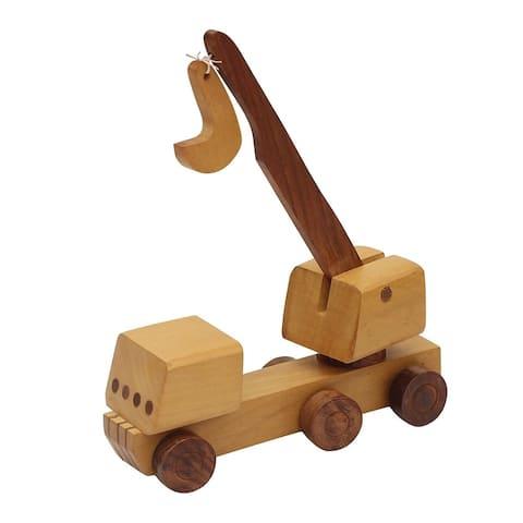 Benzara Handmade Wooden Kid's Toy Crane, Brown