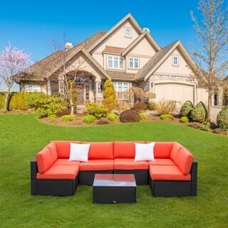 Kinbor 7 Pcs All Weather Outdoor Furniture Patio Sectional Furniture Set Cushioned Rattan Wicker Sofa Set