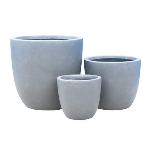 Durx-litecrete Lightweight Concrete Modern Seamless Round Cement Color Planter-Set of 3 - 17.7'x17.7'x16.9'