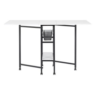 Offex Standing Height Craft Cutting Table with Storage Basket - Charcoal and White