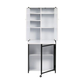 Offex Multipurpose Storage Craft Armoire - Charcoal and White