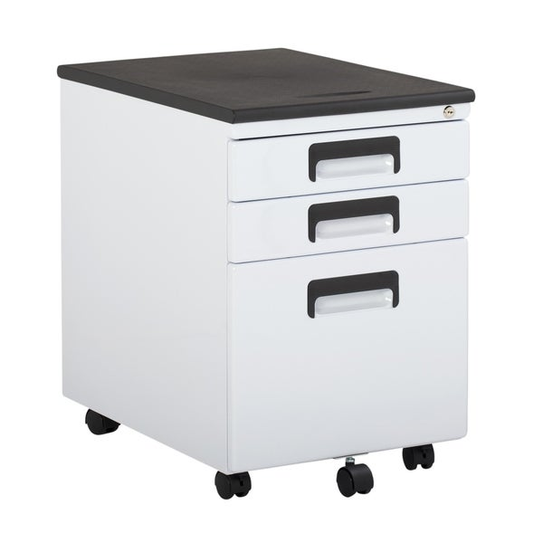 Offex 3 Drawer Metal Rolling File Cabinet With Locking Drawers   White And  Black