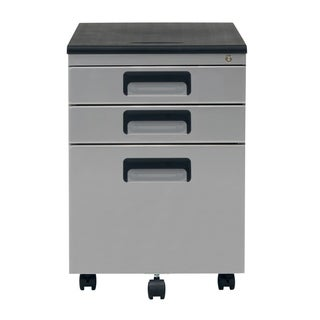 Offex 3 Drawer Metal Rolling File Cabinet with Locking Drawers - Silver and Black
