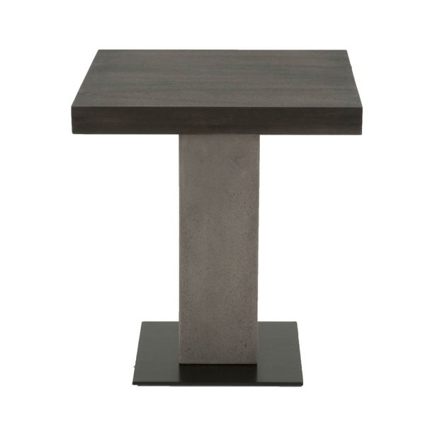 Pedestal Style End Table In Acacia Wood Slate Gray and Espresso Brown