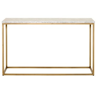 Console Table with White Marble Top, Brushed Gold
