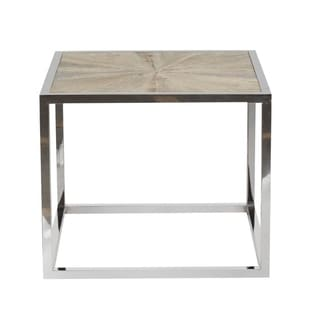 Metal Frame Coffee Table with Wooden Top, Brown and Silvertone
